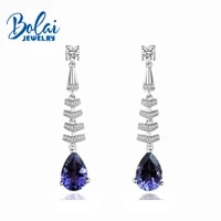 bolaijewelrynatural iolite good color long pear gemstone earring 925 sterling silver fine jewelry for girls best gift box