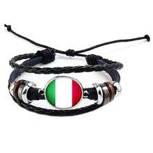 National Flags Charm Bracelet Bangles Leather Braided Rope Bracelet Beads Wristband Cuff Women Men Gift B1212-Italy