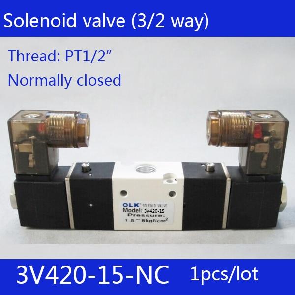 """1 piezas envío gratis 3V420-15-NC válvula de aire solenoide 3 puertos 2 posiciones 1/2 """"válvula de aire solenoide simple NC cerrado Normal ¡doble control"""