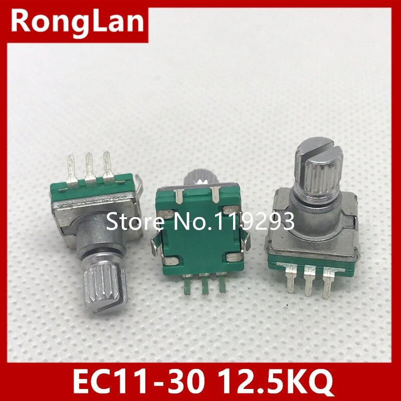 [BELLA]Taiwan produced 360  rotary pulse encoder potentiometer coding switch EC11-30 -bit audio car switch 12.5KQ--10PCS/LOT