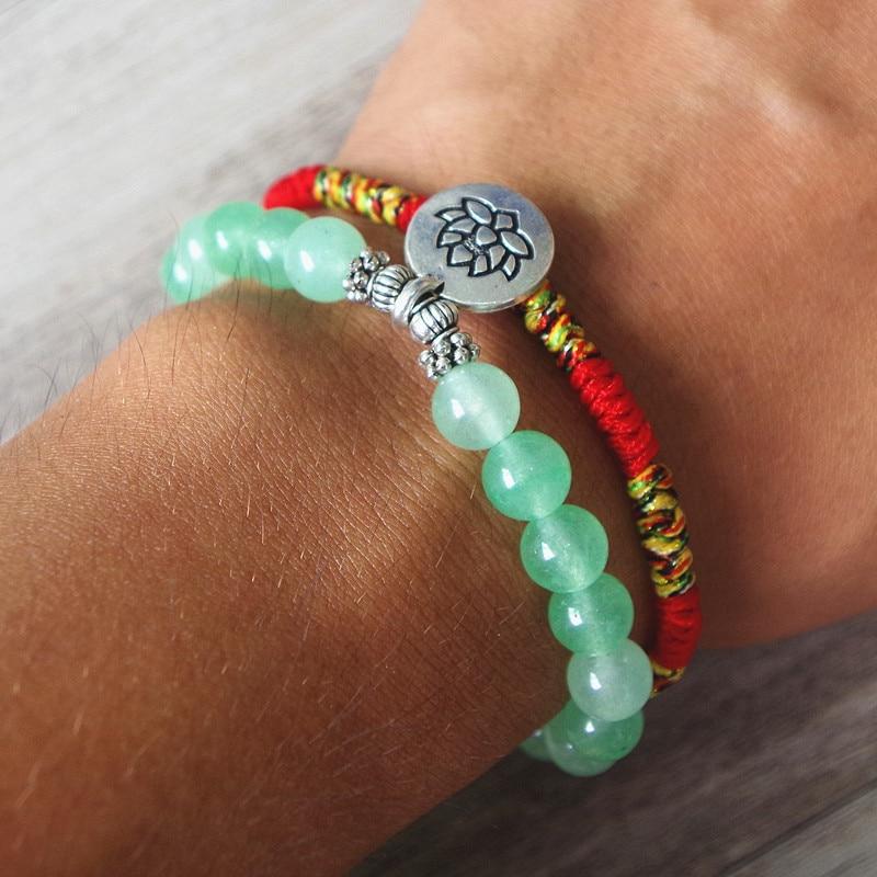 2 Teile/satz Buddha Lotus Perlen frauen Armband Yoga Chakra Mala Armband Glück Rot Seil Charme Freundschaft Armband Schmuck