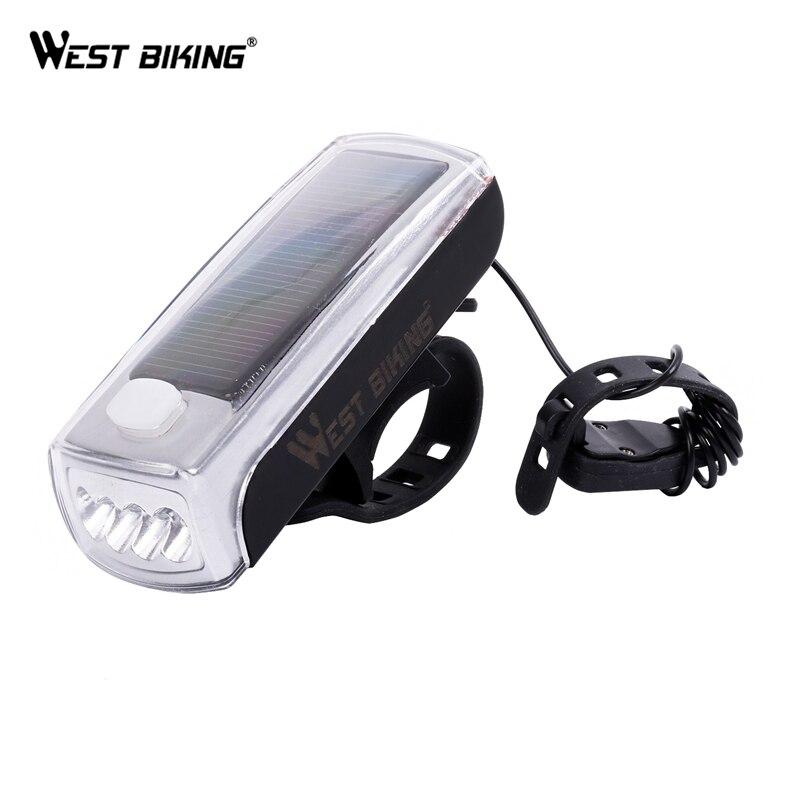 WEST BIKING Ciclismo Lâmpada USB Lâmpada de Luz LED Speaker Movido A Energia Solar Recarregável de Bicicleta Cabeça Frente Lanterna Sino Equitação Luzes de Bicicleta