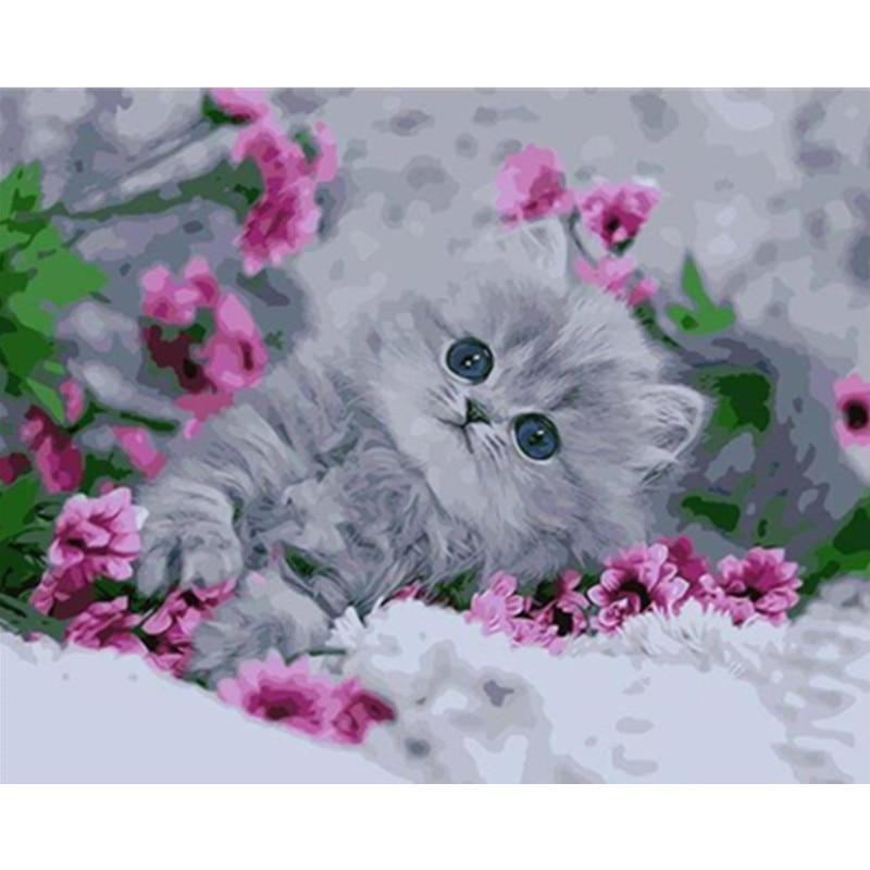 Pintura por números DIY Dropshipping 40x50 50x65cm lindo gatito en púrpura flowe Animal lona boda decoración regalo de arte