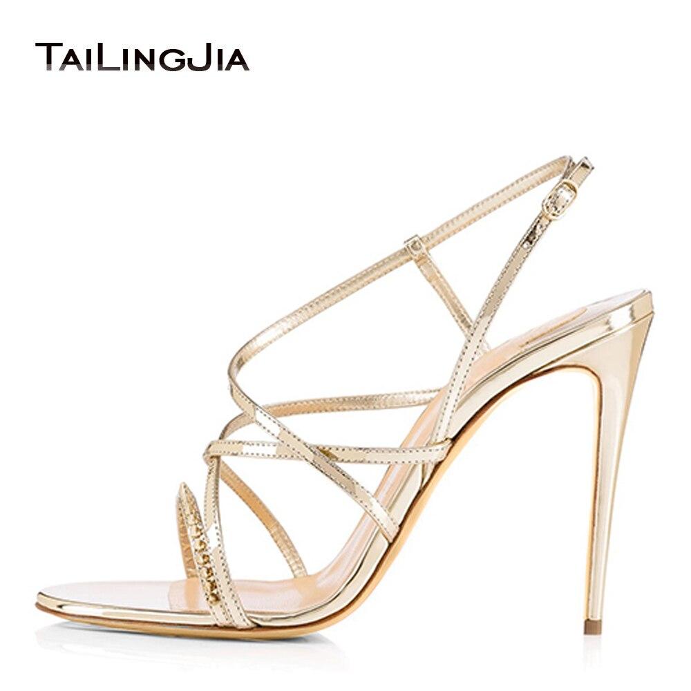 Sandálias de Salto Alto para Mulheres com Tiras Spikes Vestido Saltos Casamento Nupcial Tapete Vermelho Sapatos Senhoras Verão Stilettos Atacado Mais Tamanho