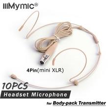 10PCS Professionele Headset Headset Condensator Microfoon Microfoon Voor SHURE Draadloze Body-pack Zender 4pin mini XLR TA4F Plug