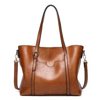 Женская сумка с масляным воском, женские кожаные сумки, роскошные дамские ручные сумки с карманом для кошелька, женская сумка-мессенджер, бо...