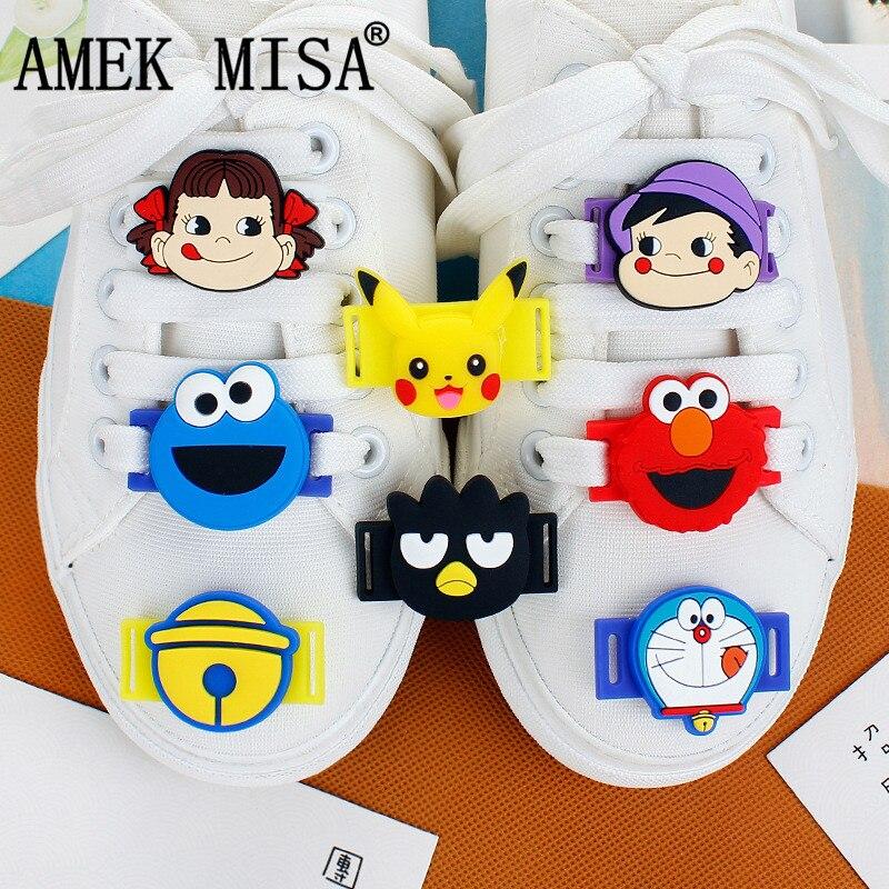 10 Uds un set de calzado de PVC de dibujos animados de sésamo calle Casual/zapatos deportivos accesorios novedad Bell gato cordón encantos Doraemon