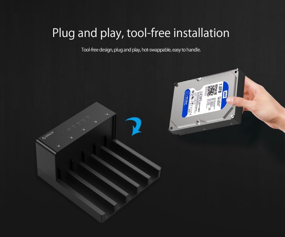 ORICO 2.5 3.5'' 5 bay USB3.0 to SATA HDD Docking Station USB3.0 Hard Drive Enclosure Support 10TB 5 Bay Offline Clone HDD Case enlarge