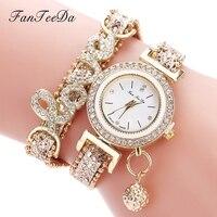 Женские кварцевые наручные часы FanTeeDa, кварцевые, с кожаным ремешком, стразы