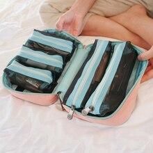 Sac cosmétique de maquillage pour femmes   Sac de rangement de voyage Portable, sac de cosmétique multifonction pour maquillage, sac de rangement de salle de bains de grande capacité étanche détachable