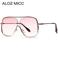 aloz micc new oversize square women sunglasses designer fashion men metal half frame sun glasses uv400 eyeglasses q435