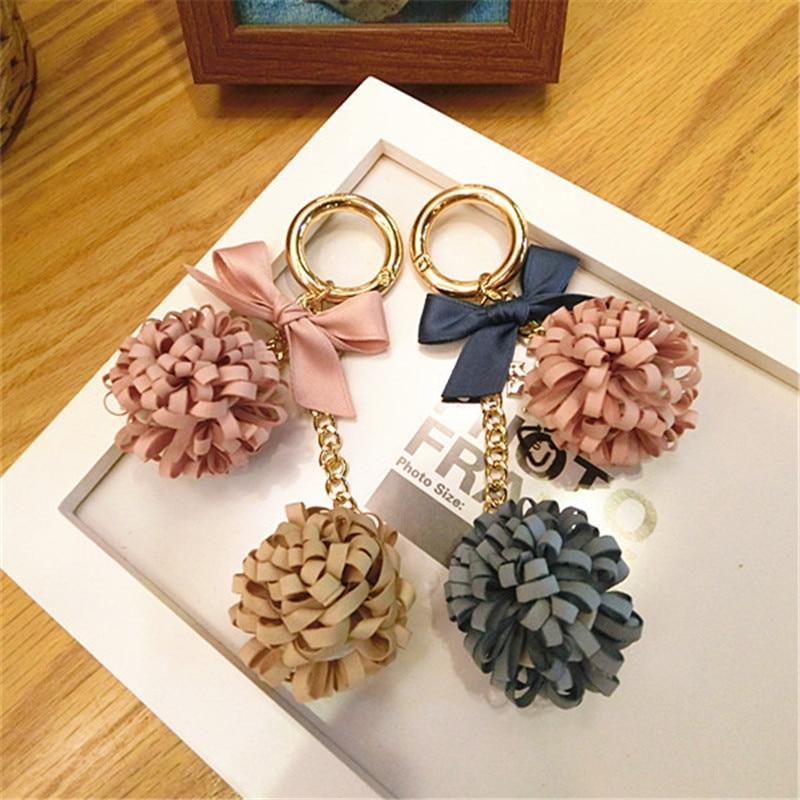 Corea hecho a mano PU tela flor bola Bowknot bolsa de llavero coche colgantes para las mujeres adultas chicas moda Jewelry-JQKKC004E