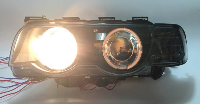 Qirun LED الملاك العين مجموعة مصابيح أمامية مع عدسة ل BMW 7 سلسلة E38 728il 730il 735il 740il 750il 1995-2001