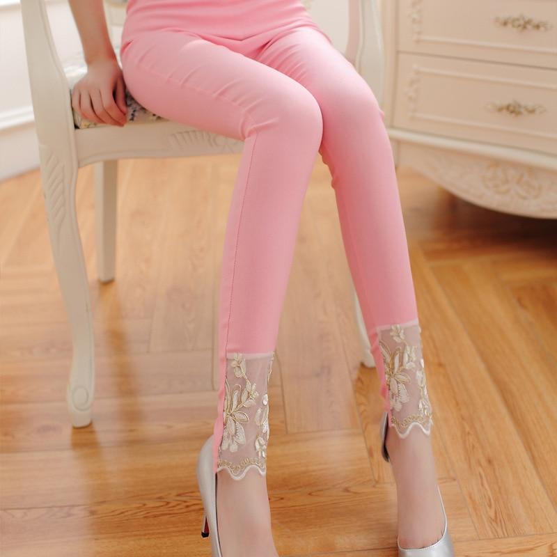 Senhora algodão misturado rendas calças para feminino flor bordado casual lápis pant menina preto rosa branco retalhos magros capris