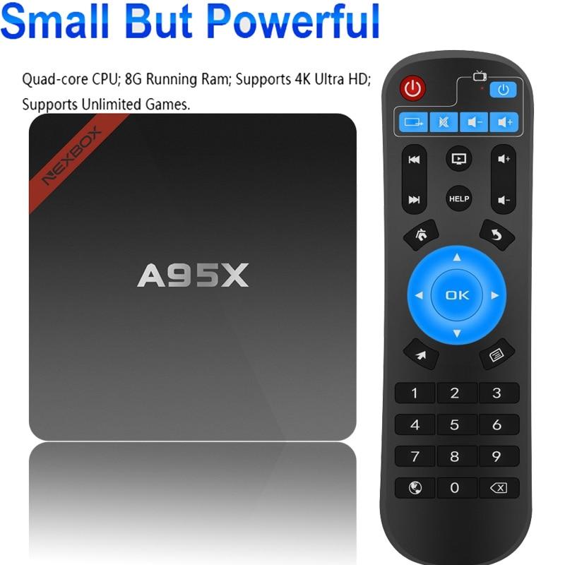 Original TVBOX de memoria de 1GB + 8GB ROM NEXBOX A95X Android TV box Android 5,1 Amlogic S905X quad-core 64Bit WiFi 4K reproductor de medios