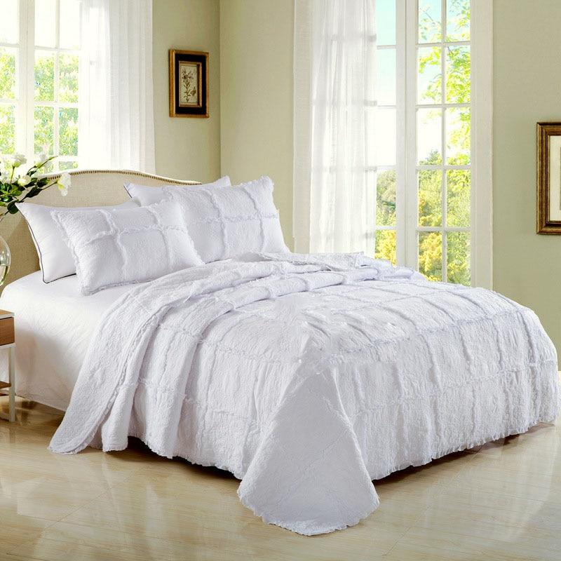 الأبيض المفرش على السرير لحاف مجموعة 3 قطعة لحاف القطن المطرزة غطاء السرير المخدة الملكة حجم الدانتيل بطانية مزدوجة للسرير