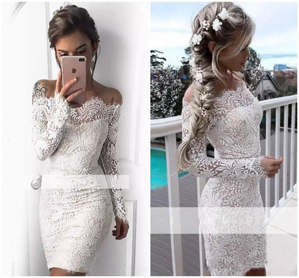 White Plus Size Mermaid Long Sleeve Short Evening Prom Dress 2019  Cocktail Dresses