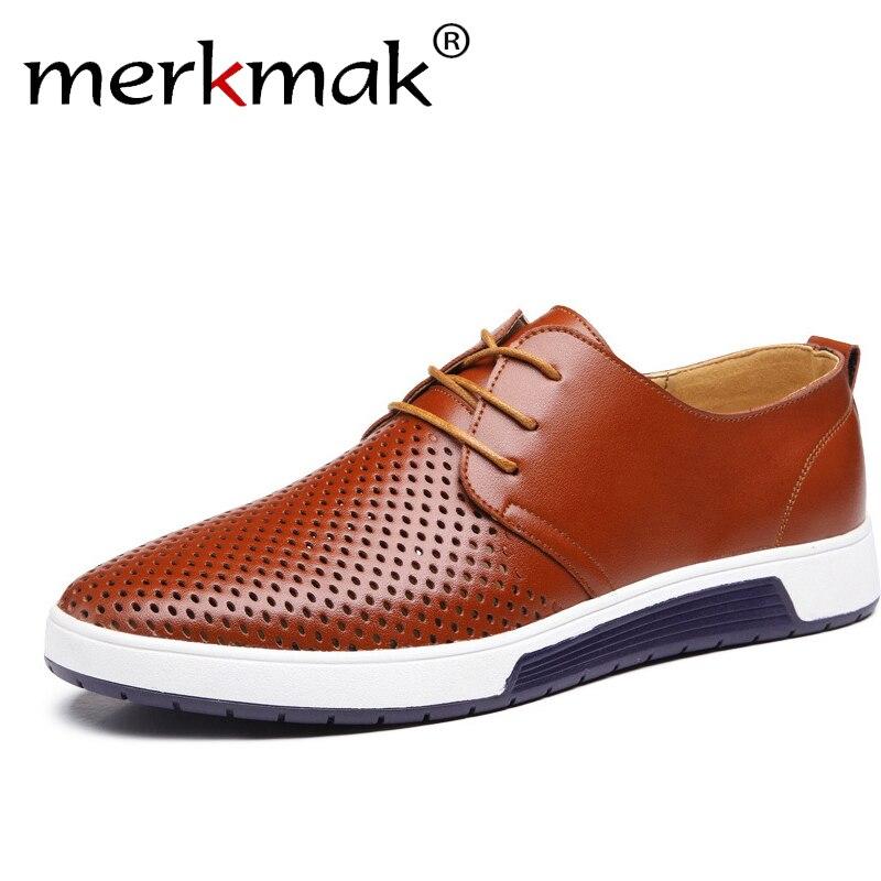 Мужские повседневные туфли на плоской подошве, коричневые туфли-оксфорды из натуральной кожи с дырками для отдыха, большие размеры, лето 2019