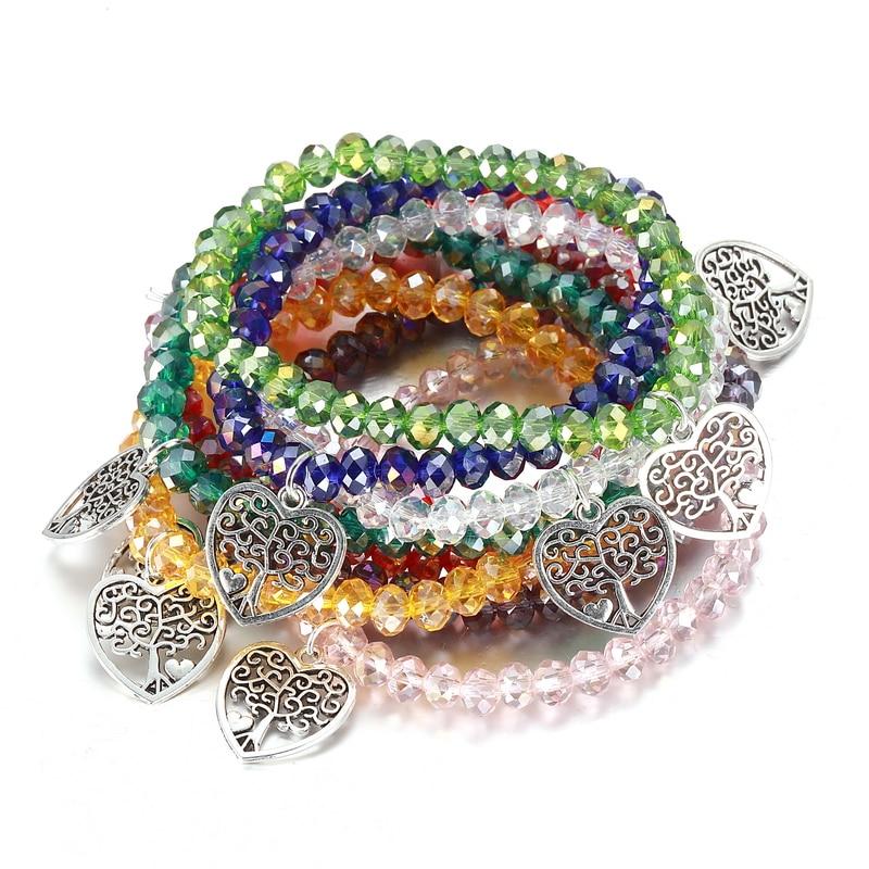 LOVBEAFAS Fashion Crystal Bead Bracelets for women with Heart Tree of Life Charm DIY Elastic Bangles Bracelets Jewelry Gift