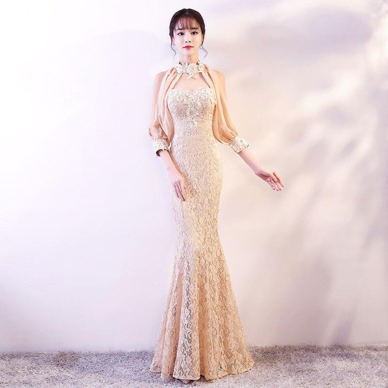 الدانتيل يزين مثير سليم حفلة ذيل السمكة فساتين سهرة بذيل طويل الإناث النمط الصيني فستان تحسين Qipao حجم S-3XL