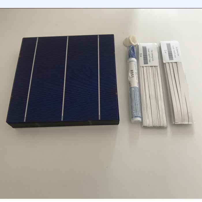 ALLMEJORES 25 uds célula Solar 156mm Célula de panel fotovoltaico policristalino + kits de soldadura para diy 12V 100w panel solar