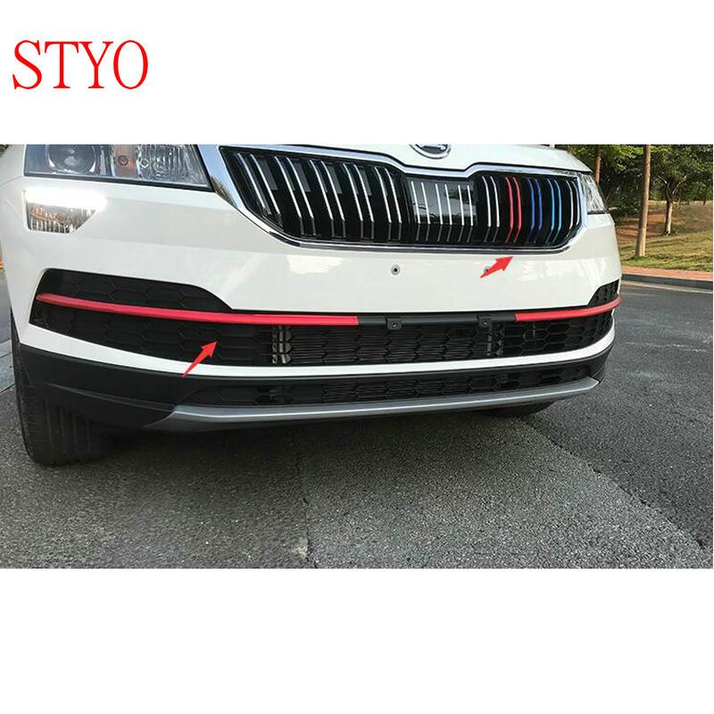 STYO-filet avant de voiture Skoda   Bandes autocollantes pour grille, garniture de garniture pour Skoda Karoq 2017 2018