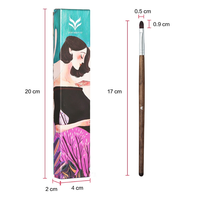Huamianli delineador de ojos cepillo mango de madera mujeres mezcla delineador de ojos labios cepillo multifunción herramienta de maquillaje