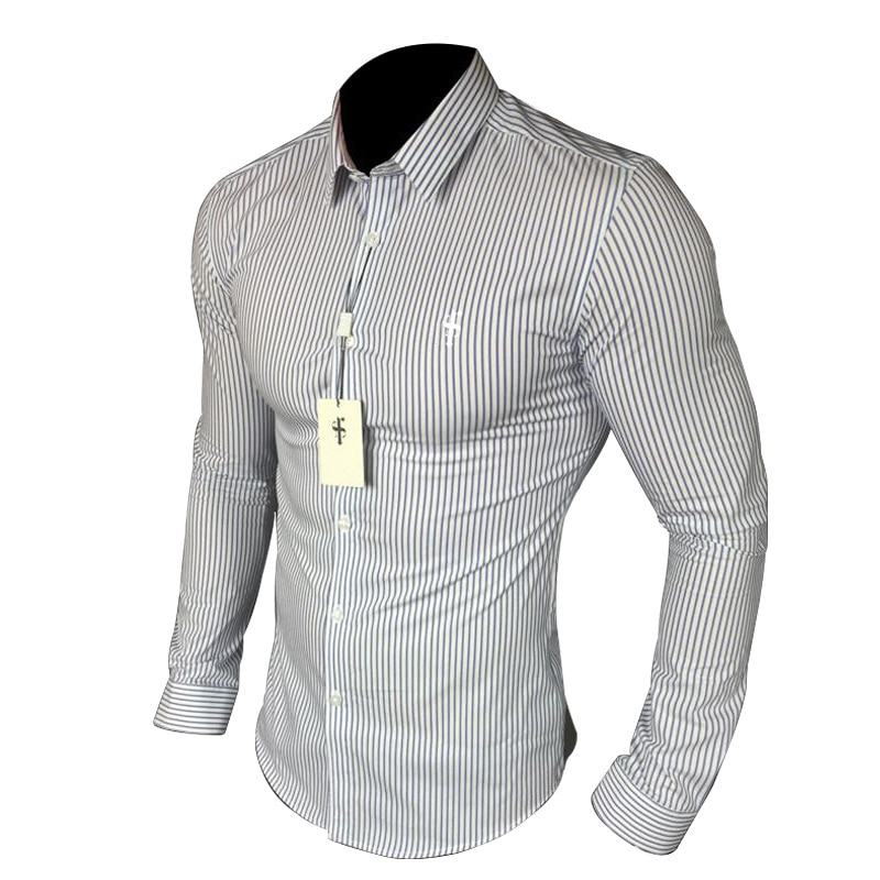 New Casual Long Sleeve Shirt Light luxury Mens Clothing Male Slim Fit Stripes Square Collar Business Fashion Shirts Men Dress