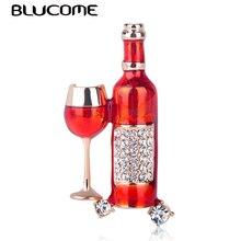 Blucome rouge vin tasse bouteille de vin forme broche pleine cristal cloisonné émail broches pour femmes hommes chapeaux costume accessoires bijoux