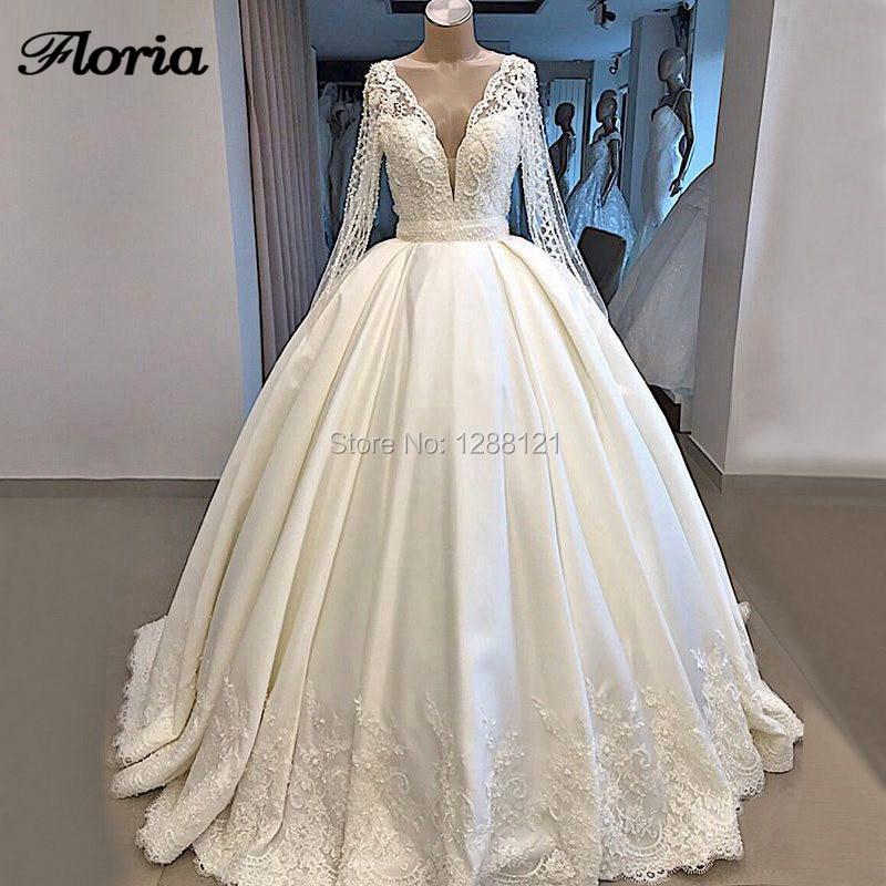 De Lujo vestidos De novia Dubái 2019 traje De Mairee encaje Sexy V pesado perlas vestidos De baile vestidos De boda kaftan nuevo