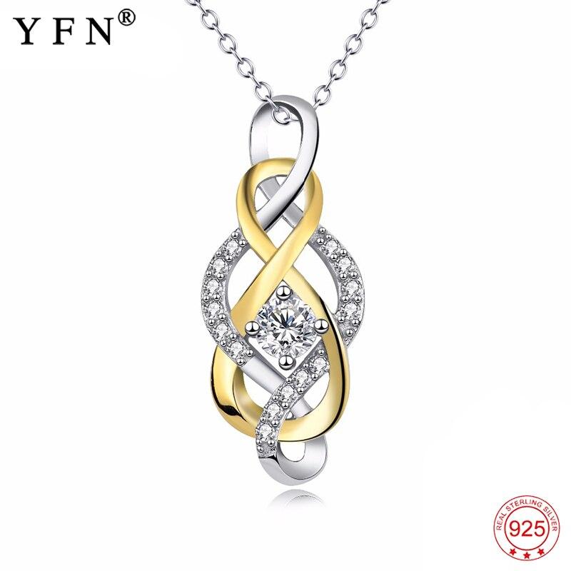YFN Genuino 925 Plata de Ley Cruz Infinito Amor de Cristal CZ Nudo Colgante Collar Chapado En Oro Joyería de Moda Regalo De Mujeres