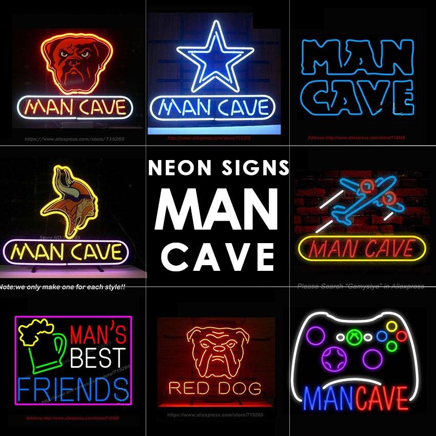 Señal de luz de neón con cristal Real para Cueva de hombre, cerveza en casa, Bar, Pub, recreación, juego de sala de estar, ventanas de garaje, letrero de pared