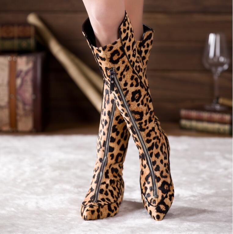 Mode chaude chaud noir/léopard imprimé crin de cheval genou-haute chaussure fermeture éclair bout pointu chevalier bottes plate-forme 4cm bottes pour femmes