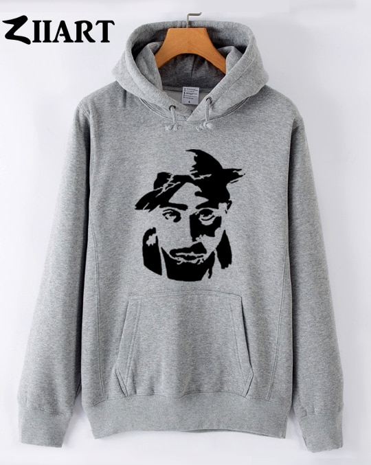 Tupac Shakur stencil 2Pac Makaveli couple clothes boys man male autumn winter fleece hoodies