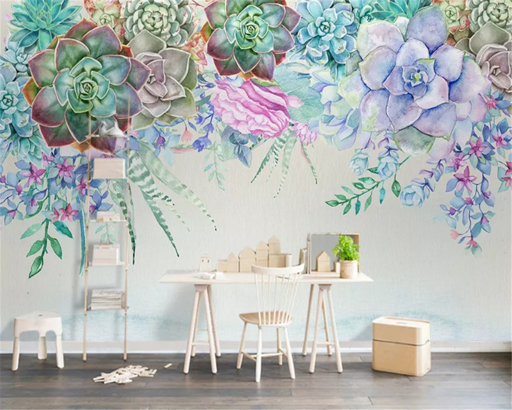 beibehang Custom classic silky wall paper Nordic simple 3D succulent flower style stereo background papel de parede 3d wallpaper beibehang new papel de parede 3d wallpaper chinese style simple wallpaper relief dream watercolor lotus lotus background tapety