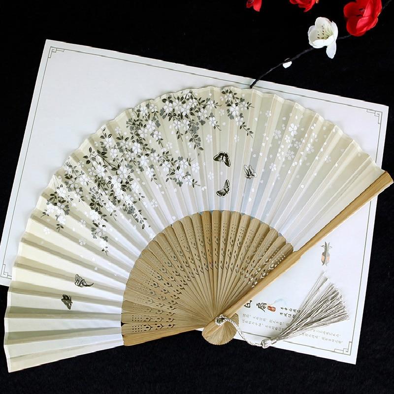 Traje antiguo chino baile cereza abanico de mano plegable mujer Cheongsam rendimiento...