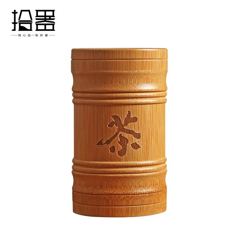 Artesanal de bambu chá canister spice caddy caixa armazenamento organizador garrafa chá conjunto caixa acessórios da cozinha selo capa jar caddy presente