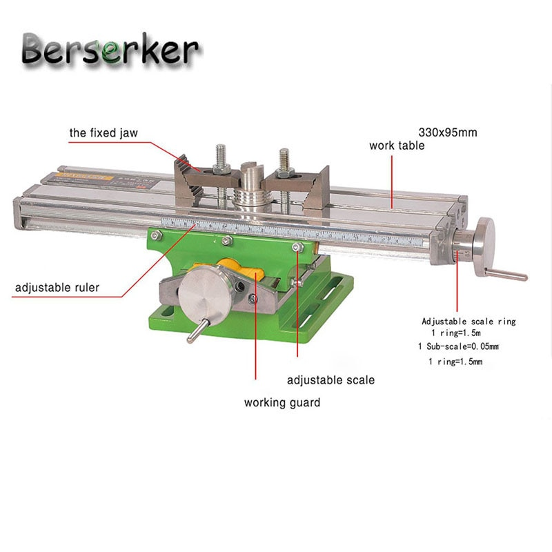 Berserker Working Cross Table Compound Bench Worktable X Y Axis Adjustment for Milling Machine Precision Tools BG-6330 ship usa enlarge
