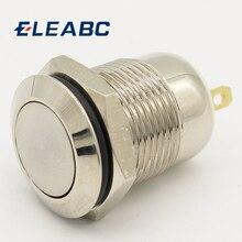 1 pièces 12mm étanche momentané plat rond en acier inoxydable métal bouton-poussoir interrupteur démarrage de voiture klaxon haut-parleur cloche réinitialisation automatique