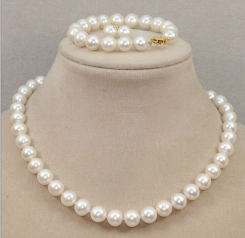 Señorita encanto Jew.655 CLÁSICO 10-11mm mar del sur blanco perla Pulsera collar Pendiente redondo 18 inch14k conjunto de joyas (A0516)