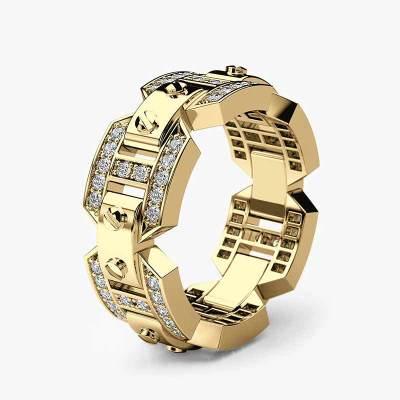 Huitan décorations à la mode unisexe anneau de luxe couleur argent Punk élégant hommes anneau puissance Gadget