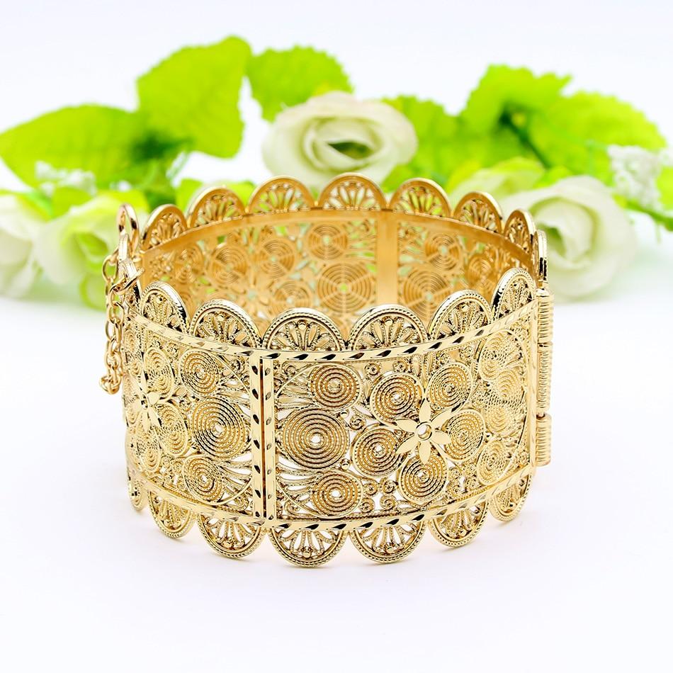 Женский браслет большого размера, браслет золотого цвета с цветком для танца или вечеринки