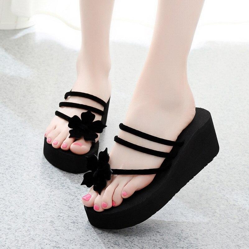 Модные летние женские шлепанцы; Шлепанцы на платформе и высоком каблуке; Повседневные сандалии на танкетке; sandalias mujer