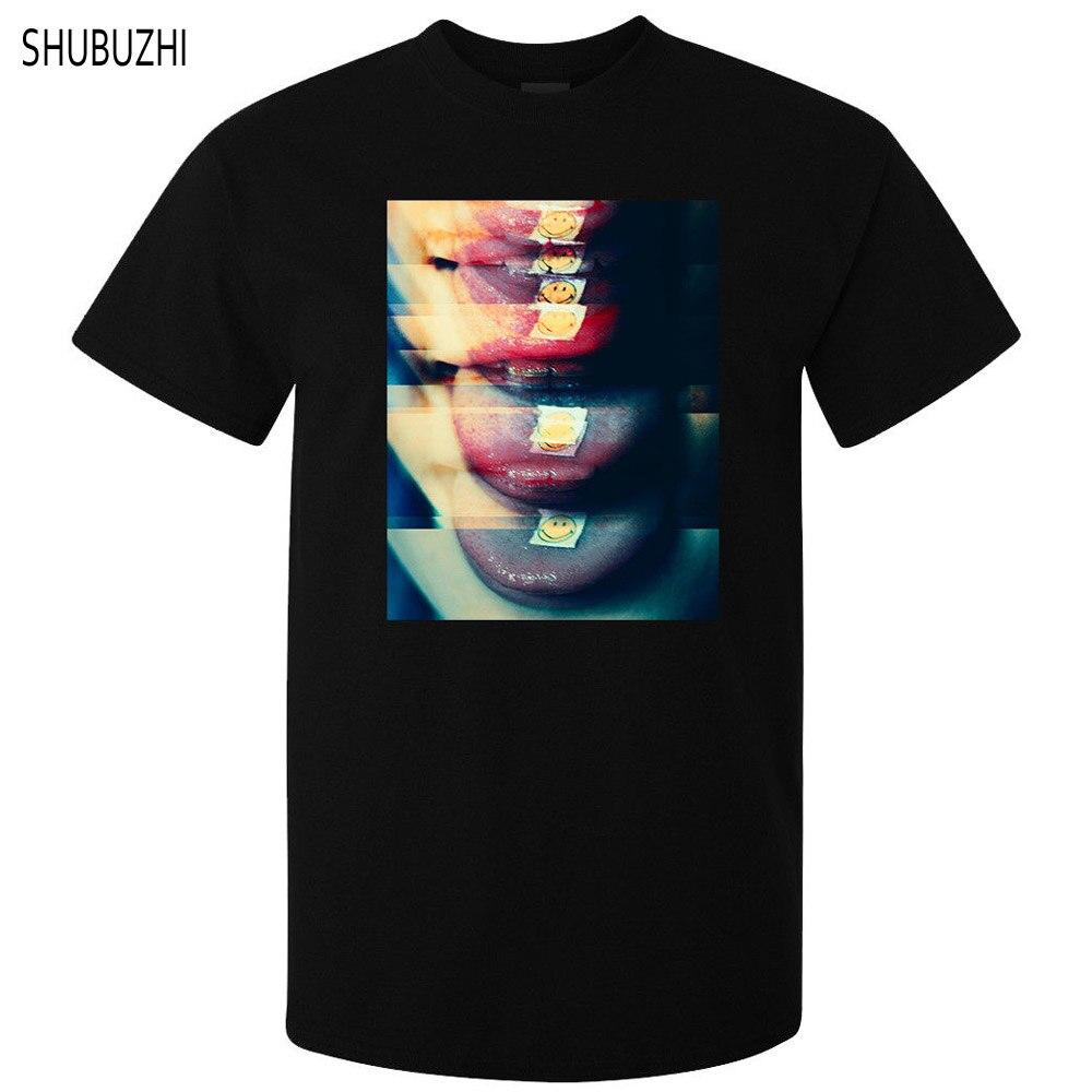 Camiseta negra de verano para hombre, camiseta nueva de talla grande borrosa LSD drug vision lover high weed, Camiseta de algodón para hombre sbz482