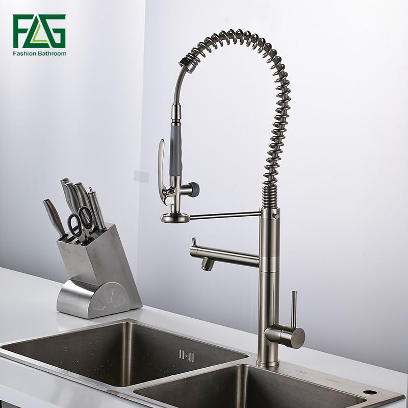 Выдвижной кухонный кран, смеситель для раковины, кран с креплением на палубе, двойной распылитель, насадка для горячей и холодной воды