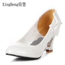 XingDeng mode femmes bout rond doux nœud papillon fête chaussures à talons hauts grande taille 34-43 dames chaussures compensées mariage chaussures de mariée