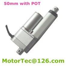 50mm İnme 12 V 24 V DC 900N 90 KG 198LBS yük 80 mm/sn elektrikli lineer aktüatör potansiyometre ile POT sinyal geribildirim