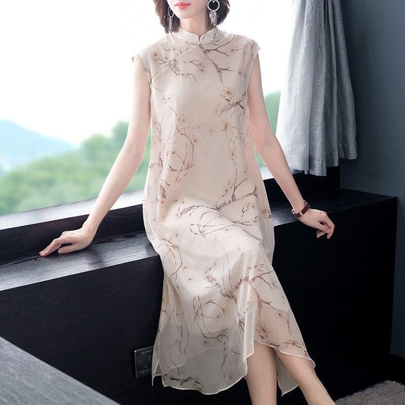 2019 Mulheres Novas do Verão Elegante Impresso Fora de Seda Real 100% Vestido De Luxo Estilo Chinês Vestidos Soltos P8184