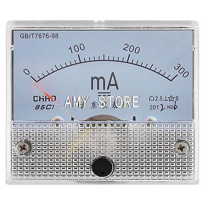 Panel de medidor de miliamperios de CC analógica de clase 2,5 de precisión 0-300MA 85C1
