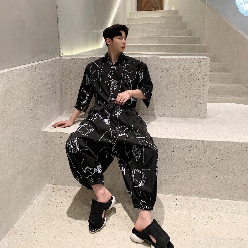 Casual Camisa monos tres cuartos manga para hombres Primavera Verano moda Streetwear Hip Hop mono estampado Harem pantalones YT5079